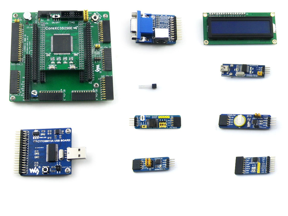 Waveshare XC3S250E XILINX Spartan-3E FPGA Development Board + 10 Accessory Modules Kits = Open3S250E Package A xilinx fpga development board xilinx spartan 3e xc3s250e evaluation kit xc3s250e core kit open3s250e standard from waveshare