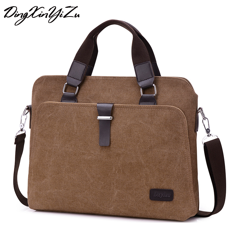 New Vintage Men's Canvas Shoulder Bags with Strap Men Office Bag with Leather with Cell Phone Pocket Casual Men's Handbag osoce men bag sling shoulder bag business casual canvas korean brief bags street office bag green blue gray s1 s2