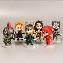 6 PCS/Lot The Avengers Marvel Display Action Figure Cute Toy Hulk Flash Black Panther Wonder Woman Thor Model Jouet
