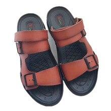 купить Summer Genuine Leather Outdoor Shoes Men Sandals Handmade Classic Flip Flops Men Soft Walking Beach Slippers Sandals Men дешево