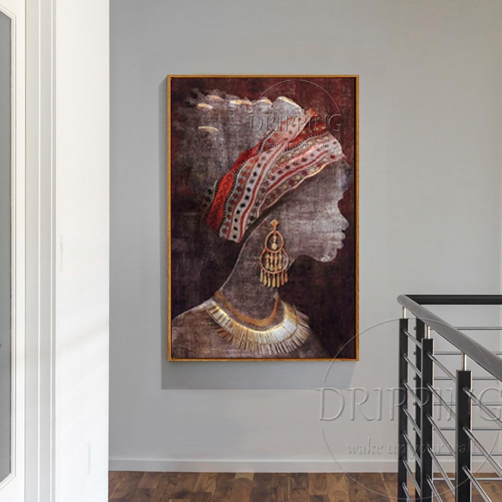 Molto Dipinta A mano Moderna Wall Art Donna Africana Dipinti di Figura  HA96