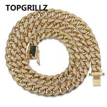 TOPGRILLZ Miami Cuban Chain 10mm Necklace Charm For Men Gold Silver Color Iced Out Micro Pave Cubic Zircon Hip Hop Jewelry Gifts