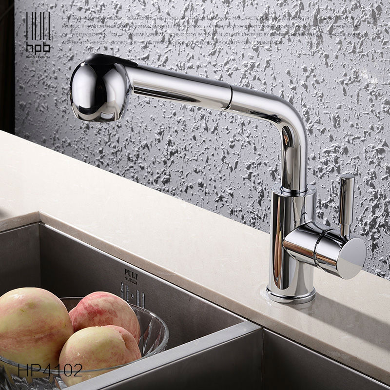 HPB Pull out Spray Kitchen Chrome Brass Swivel Faucet Spout Sink Mixer Tap Deck Mounted Hot And Cold Water Single Hole HP4102 chrome finish dual spout kitchen sink faucet deck mount spring kitchen mixer tap kitchen hot and cold water tap