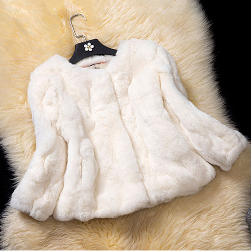 2018 spring new female natural genuine short rex rabbit fur jacket beige color women coat spring autumn soft winter warm outwear