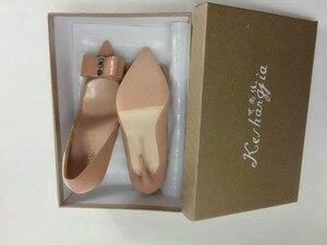 Image 5 - Женские туфли лодочки Keshangjia, брендовые туфли на высоком каблуке с острым носком и бантом