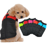 Warm Dog Clothes Winter Waterproof Padded Pet Dog Vest Jacket Coat With Zipper For Small Medium