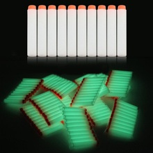 10pcs Fluorescent Soft Bullets Glow in Dark 7.2cm Refill Darts Toy Gun Bullets for glow Series Blasters Xmas Kid Children Gift