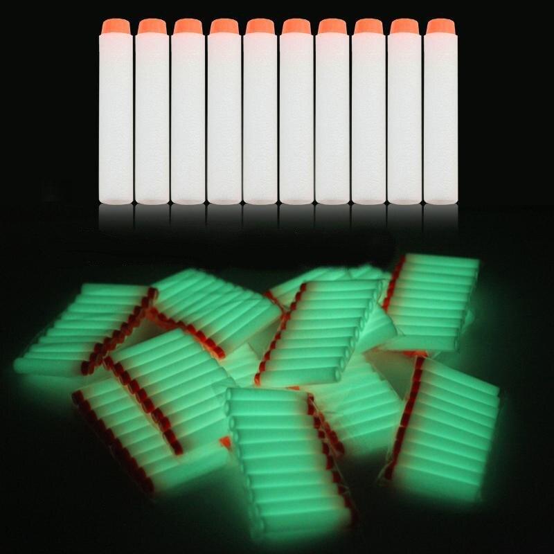 10pcs Fluorescent Soft Bullets Glow in Dark 7 2cm Refill Darts Toy Gun Bullets for Nerf