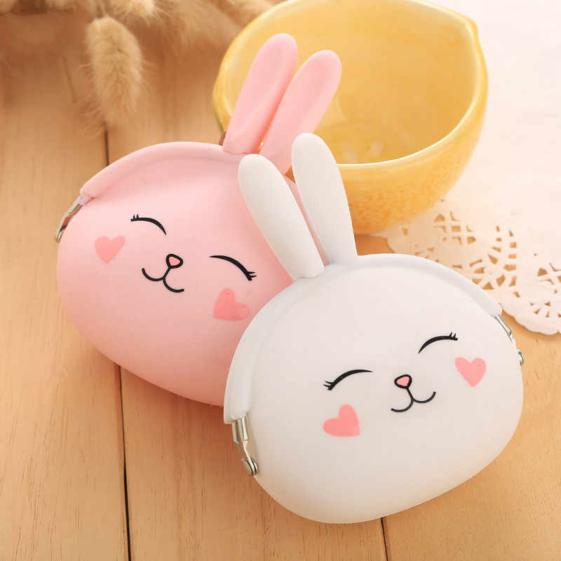 New Fashion Coin Purse Lovely Kawaii Cartoon Rabbit Pouch Women Girls Small Wallet Soft Silicone Coin Bag Kid Gift
