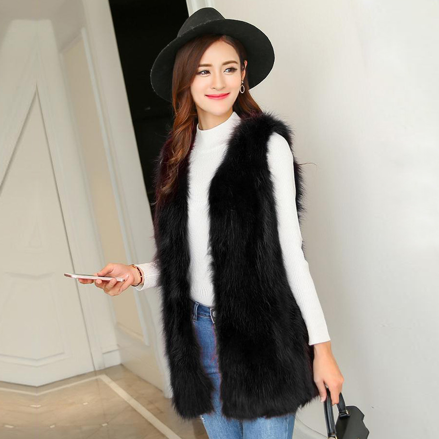 2017 New Girls Fur Vest Long Hair And Fur Coat Really Thin Fur Coat Vest.