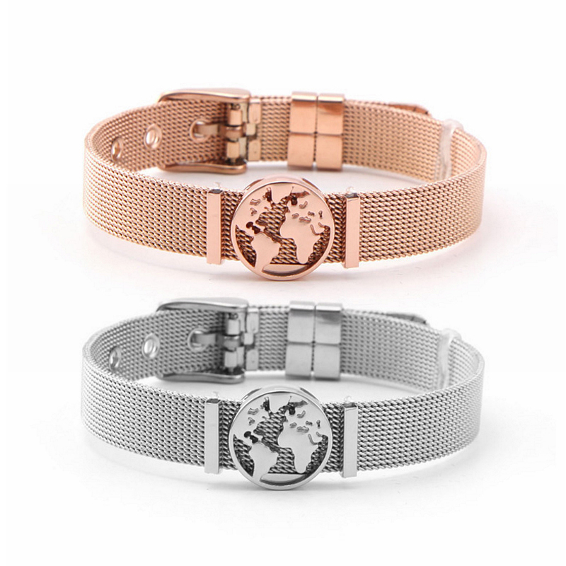 Gold/Silver /RoseGold World Map Pendant Chain Bracelet with Stainless Steel Link Chain Bracelet for Women Charm Bracelet Jewelry