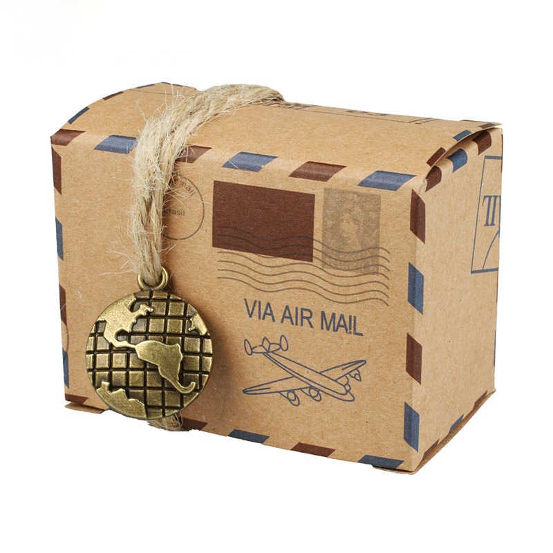 50pcs Candy Box with Globe And Compass Chocolate Packaging Gift Box And Gifts Bag Party Favors