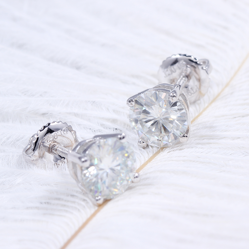 Fine Jewelry Platinum Plated Silver Moissanites Stud Earrings Total 1ctw  Diamond Lab Grown Gem 4