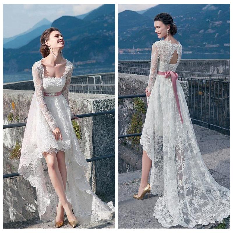 Hi Lo Wedding Gowns: 2019 Full Lace Long Sleeves Wedding Dresses Scoop High Low