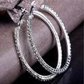 Серебряные полированные серьги-кольца, украшенные австрийским кубическим цирконием класса ААА, для свадебной вечеринки