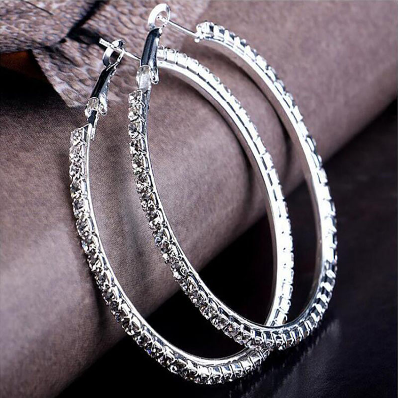2019 Silver Color High Polished Hoop Earrings Paved With AAA Austrian Cubic Zirconia For Wedding Party Jewelry