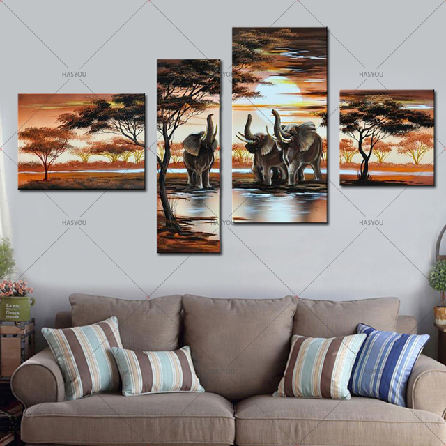 The Age Of Elephant 4 Panel Pictures Sets Handpainted Abstract Oil Painting Home Decor Wall Art Modern Paintings