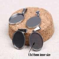 Reidgaller 10 pièces ajustement 13x18mm ovale pendentif lunette ébauches en acier inoxydable bijoux cabochon paramètres de base collier à faire soi-même plateaux