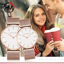 Пару часов Элитный бренд Модные Для мужчин Для женщин кварцевые наручные часы золото Сталь сетки мужской женский часы Relogio Feminino Masculino часы