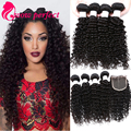 Brazilian Virgin Hair With Closure 7A Brazilian Deep Wave With Closure Human Hair 4 Bundles Deep Curly Virgin Hair With Closure