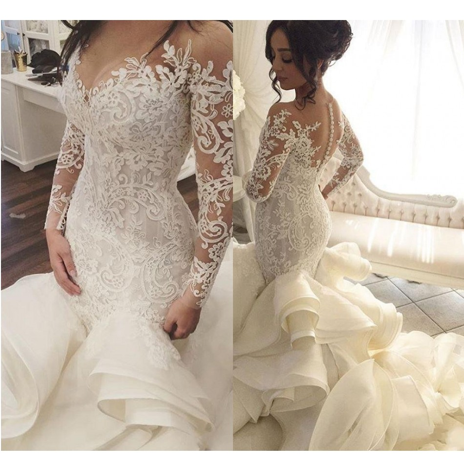 Saudi Arabic Lace Mermaid Wedding Dresses With Full Sleeves <font><b>2018</b></font> <font><b>Bridal</b></font> <font><b>Gowns</b></font> Dubai Royal Train Button Ruffles Robe De Mariee image