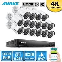 ANNKE 8CH 4 K со сверхвысоким разрешением Ultra HD, POE, сетевые видеонаблюдения Системы 8MP H.265 + NVR с 8X8 Мп возможностью погружения на глубину до 30 м EXIR Но