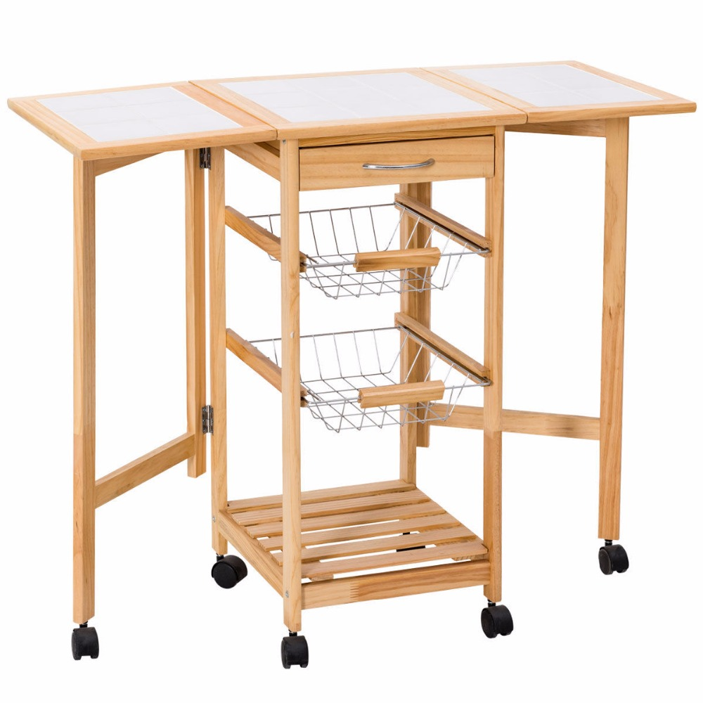 GER Folding Kitchen Trolley Cart Modern Coffee Table Storage Holders Multipurpose Shelf Display Rack Rolling Trolley HW50183 juki mechanical feeder cart storage trolley cart