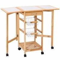 GER Folding Kitchen Trolley Cart Modern Coffee Table Storage Holders Multipurpose Shelf Display Rack Rolling Trolley