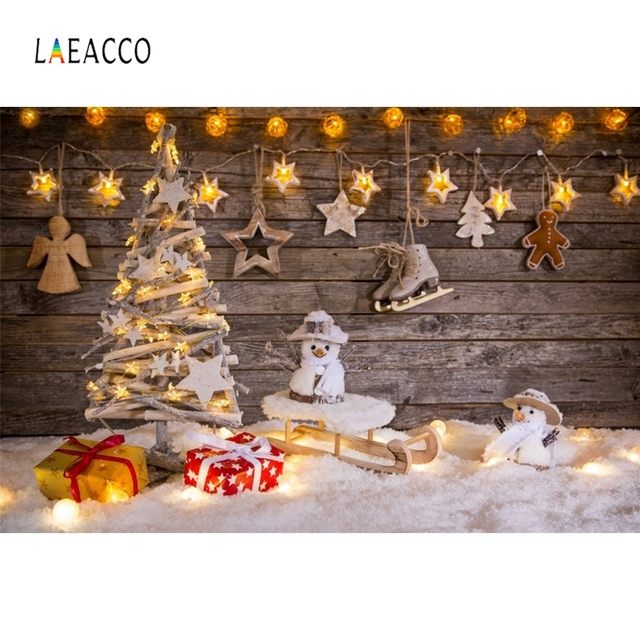 Laeacco Christmas Party New Year Snow Gifts Baby Children Photography Backgrounds Custom Photographic Backdrops For Photo Studio