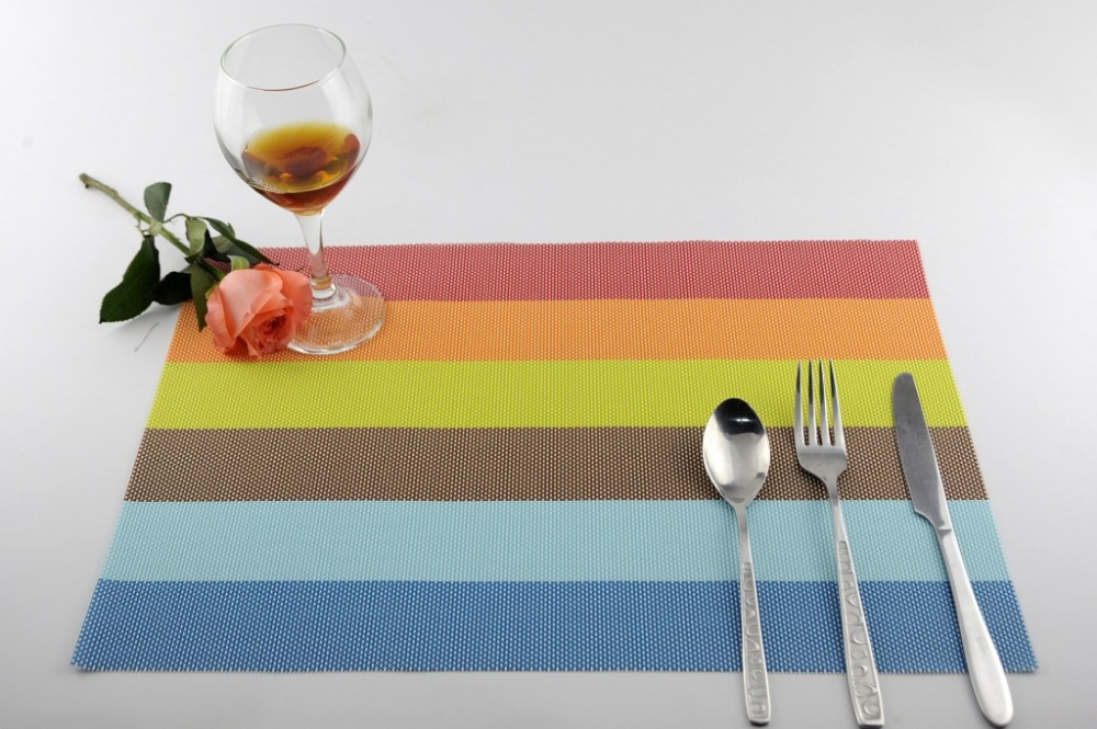 Rainbow Strpied Plastic(PVC) Placemats For Table Heat Insulation Pad Papkin DiningTable Tray Mat Coasters Waterproof Table Mats