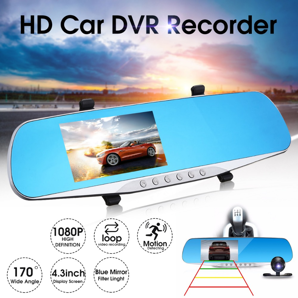 4.3 inch Auto DVR HD 1080 p Achteruitkijkspiegel Digitale Video Recorder Dual Lens Registratory Dash Camera Nachtzicht camcorder