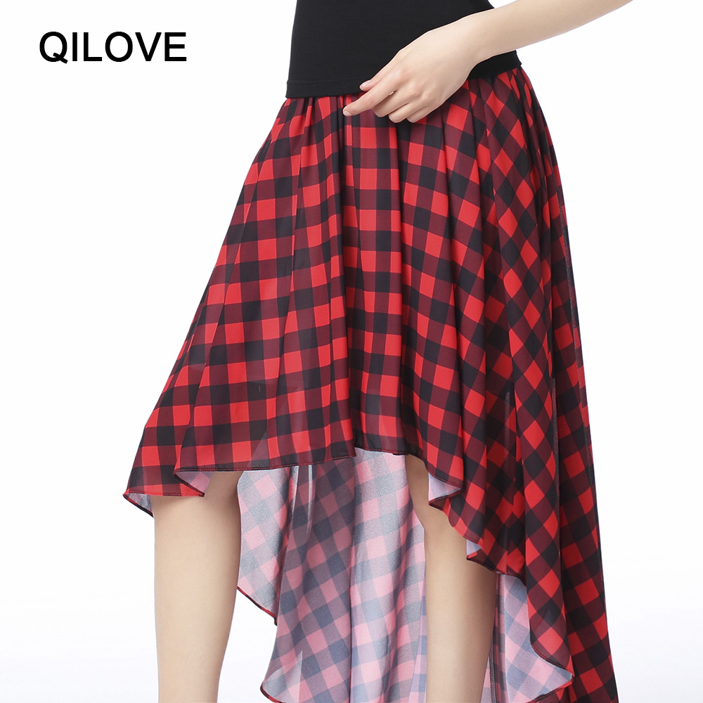 7cf55b1d66ad3b High Low High Waist Lrregular Skirt New Hot Women Fashion Casual Skirts Red  And Black Plaid Skirt Qilove Brand -in Skirts from Women's Clothing on ...
