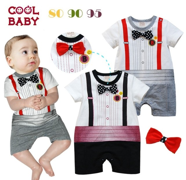 Free Shipping 3pcs/lot Infant Toddler Baby Boy's Formal Wear Tuxedo Rompers