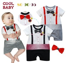 Free Shipping 3pcs lot Infant Toddler Baby Boy s Formal Wear Tuxedo Rompers