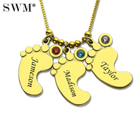 Women Necklace Custom Jewelry Gold Color Chain Kids Name Baby Feet Pendant Colar Birth Stone Crystal Necklaces Gift for Mom