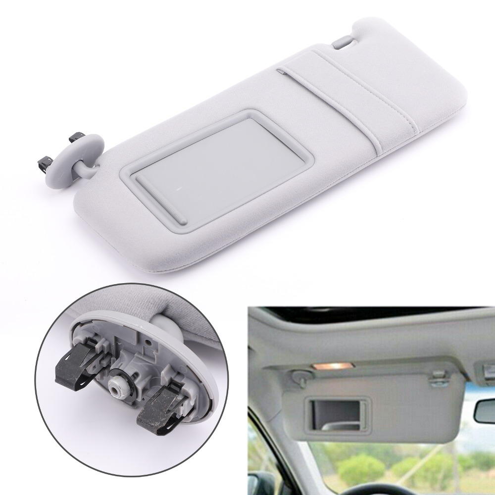 Areyourshop Car NEW GRAY Sun Visor LEFT Driver For Toyota Camry WITHOUT Vanity Light 2007 2011