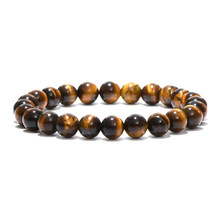 Natural Stone Beads Buddha Bracelet Brown Tiger Eyes Yoga Meditation Braclet For Men Women Hand Jewelry Homme Unisex(China)