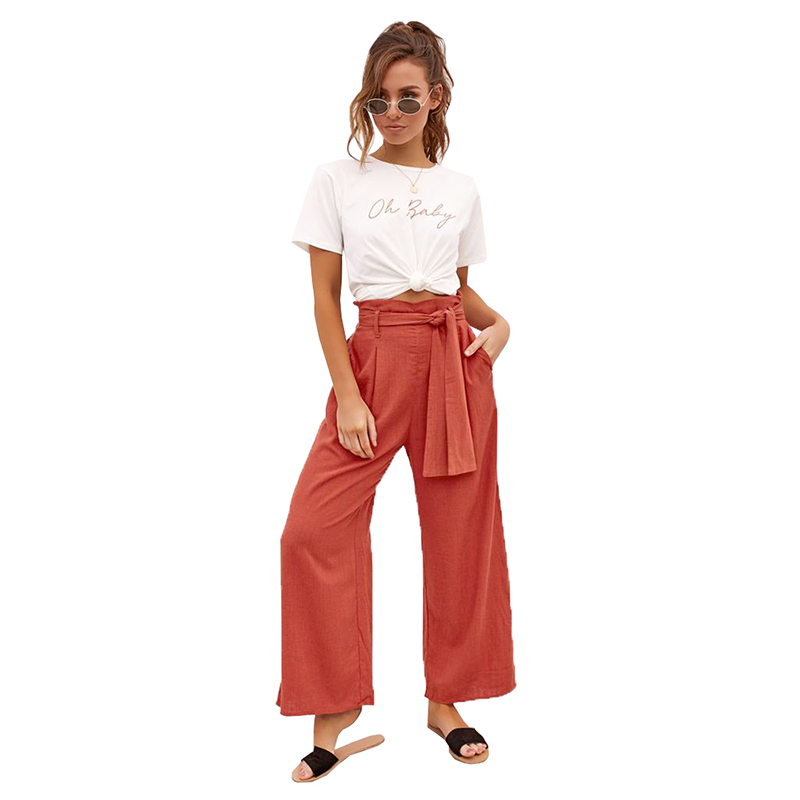 Elegant Bud High Waist Bow Knot   Wide     Leg     Pants   For Women Casual Loose Vintage Femme Trousers Streetwear   Pants
