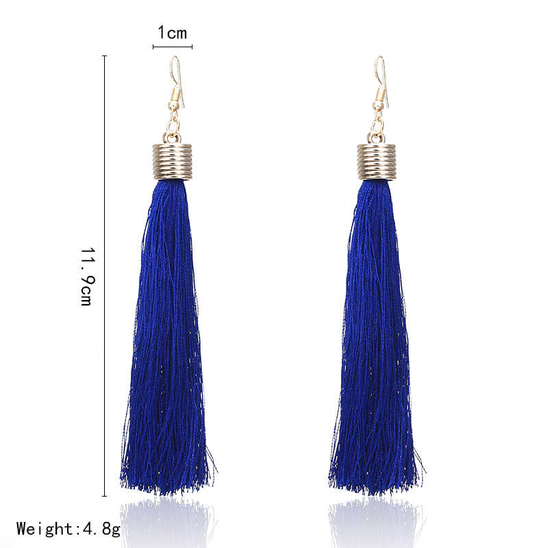 E0121 Bohemian Long Tassel Earrings For Women 2018  Navy Blue Vintage Retro Drop Dangle Tassel Earrings Wedding Female Jewelry