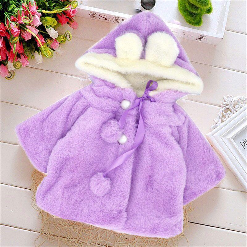 Baby coat purple baby girl winter clothes cute rabbit snowsuit abrigo bebe ropa bebe invierno nina casaco infantil chaqueta bebe