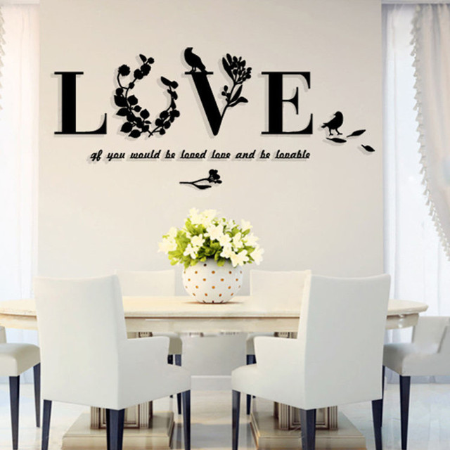 Stylish Removable 3D Leaf LOVE Wall Sticker Art Vinyl Decals Bedroom Decor  Mirror Wall Stickers Living