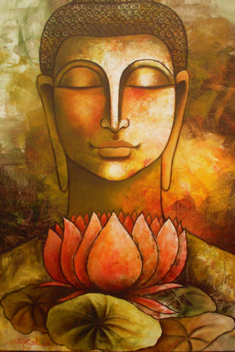 DH Art Classical Buddha Oil Painting Solemn Buddhism Wall Canvas Art <font><b>Asian</b></font> Religion Ancient Picture For <font><b>Home</b></font> <font><b>Decoration</b></font>