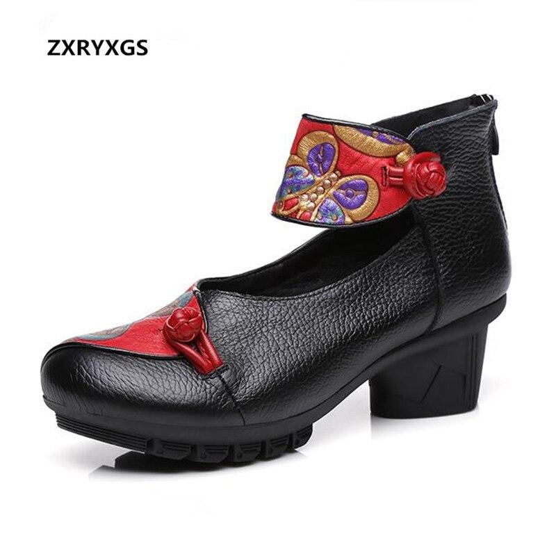 Confortable Boucle Chaussures Noir Femmes Automne Marque Souple Talons Zxryxgs À rouge Date 2018 gris Pompes Hauts Impression En Vachette Cuir Eq1PR5c5