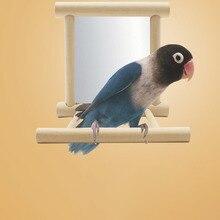 Легкие стойки для птичьей станции с зеркалом, игрушки, портативная поддержка для обучения, подставки для птичьей клетки, товары для птиц