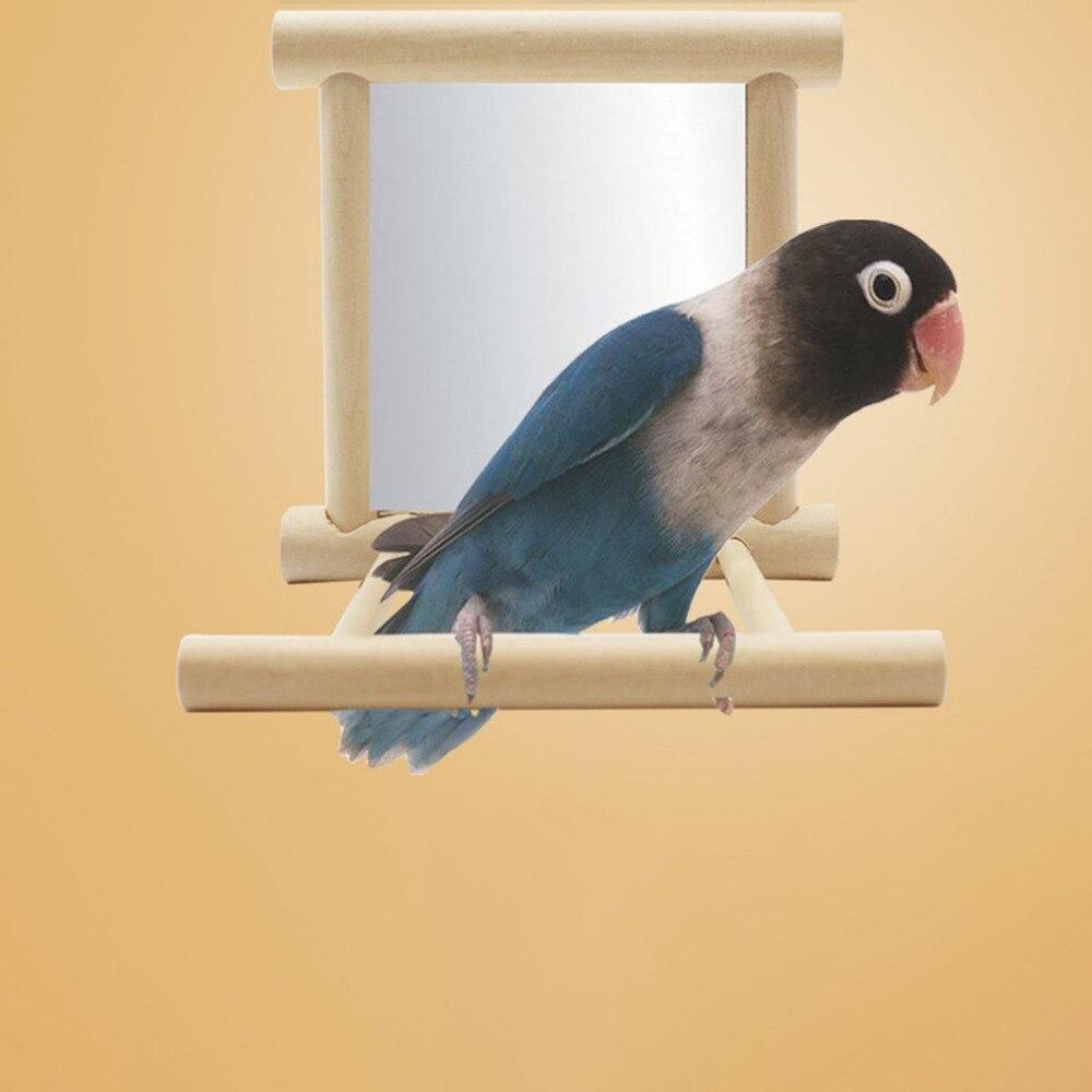 Lightweight Bird Station Racks With Mirror Toys Portable Training Support Birdcage Stands Bird Supplies