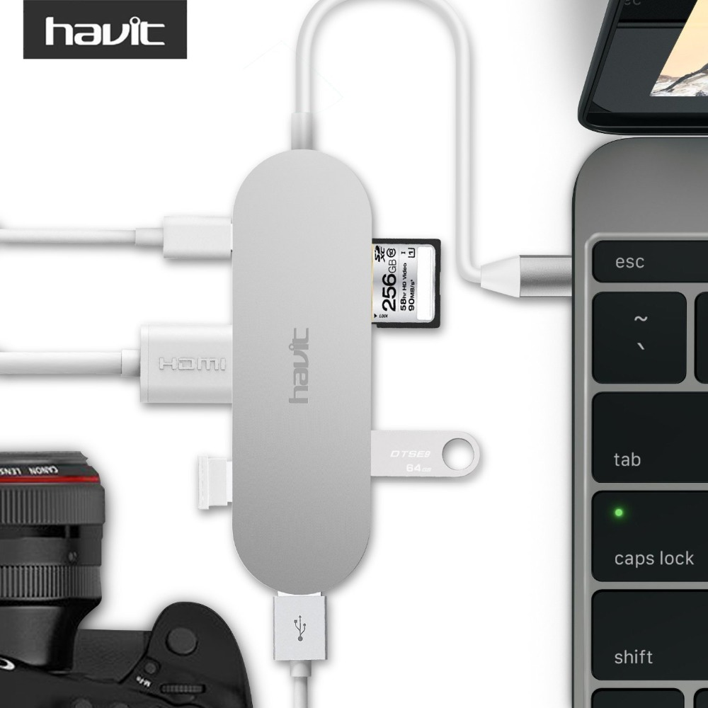 HAVIT Usb 3. 0 Hub HDMI Output (Support 4K) 3.1 Type-C Hub with Power Delivery 3 SuperSpeed USB 3.0 Ports SD/SDHC HV-TPC68