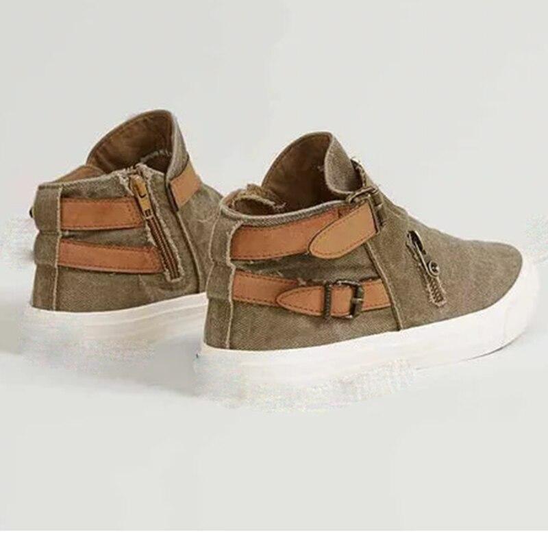 Laamei Torridness Retro ผู้หญิงรองเท้าผ้าใบ Vulcanize รองเท้า Denim รองเท้าสุภาพสตรีแบนรองเท้าสบายๆหญิงสุภาพสตรี