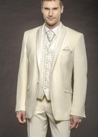 2017 Latest Coat Pant Designs Ivory Embossed High Quality Custom Made Wedding Suit For Men Slim