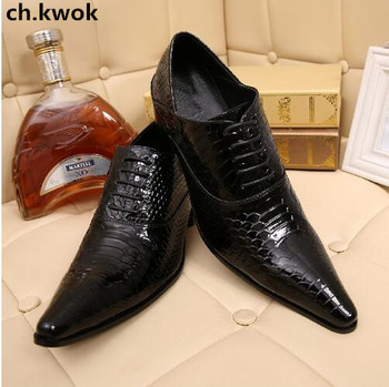 CH.KWOK Chaussure Homme Alligator Shoes Men Genuine Leather Mens Shoes Black Wine Pointed Toe Classic Italian Shoes Oxfords