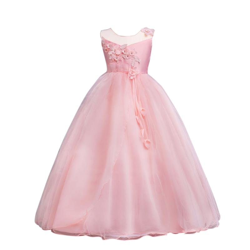 Pink Flower Lace Princess Dress Wedding Tutu Dresses for Girls Children Clothes Summer 2018 Birthday Party Kids Girl Dress summer kids girls lace princess dress toddler baby girl dresses for party and wedding flower children clothing age 10 formal
